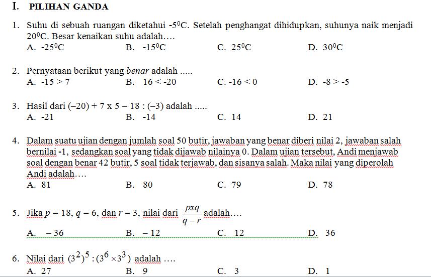 Soal Uas Pas Matematika Kelas Vii Smp Mts K 13 Revisi Pendidikangratis Id