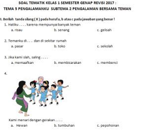 Contoh Soal Tematik Kelas 2 Tema 5 Pengalamanku Guru Ilmu Sosial
