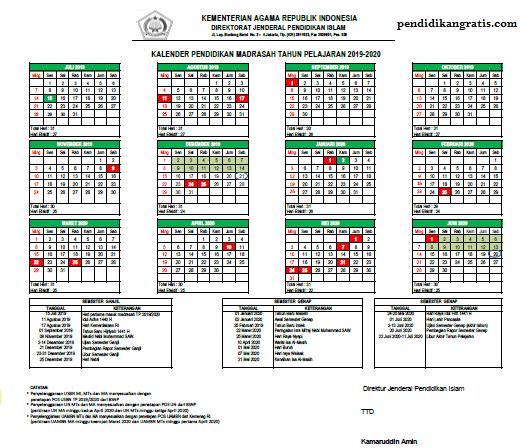 Kalender Pendidikan Madrasah Tahun 2019/2020 dapat didownload